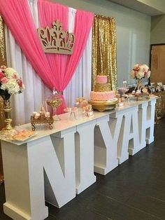 Sweet 16 birthday decorations princess party is gorgeous see more ideas at. Sweet 16 Birthday, 1st Birthday Parties, Girl Birthday, Birthday Table, 18th Birthday Ideas For Girls, Birthday Crowns, Birthday Gifts, Princess Theme, Baby Shower Princess