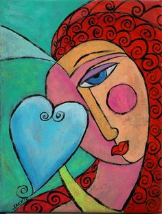 Hand Painted Ceramic Art Tile - Abstract Portrait Painting of A Woman with A Heart