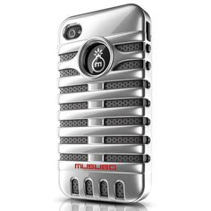 Musubo Elvis Hybrid Case and Stand for iPhone 4 / 4S (Silver)...my new case...it's not even bulky and is a mix between modern and a retro microphone...so cool!
