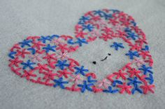 Lazy Daisy Stitch {Try Something New Every Month} - Felt With Love Designs Chain Stitch, Cross Stitch, Lazy Daisy Stitch, Coffee Heart, Running Stitch, Blanket Stitch, Back Stitch, Try Something New, Valentine Decorations