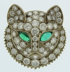 White Gold Cat Pin, With Emerald Eyes & Diamonds