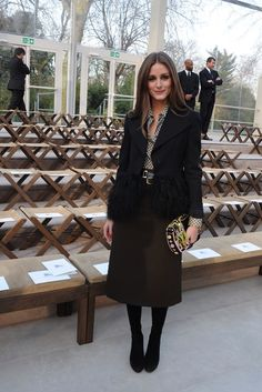 Front Row at Burberry Prorsum Olivia Palermo Front Row at Burberry Prorsum [Photo by Nazarin Montag] Estilo Olivia Palermo, Olivia Palermo Lookbook, Olivia Palermo Style, Winter Fashion Outfits, Work Fashion, Modest Fashion, Autumn Fashion, 90s Fashion, All About Fashion