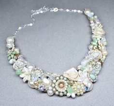 Mint statement Necklace Mint Green Bib necklace by BrassBoheme, $129.00