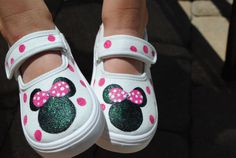Disneyland trip       MINNIE MOUSE SHOES hand painted shoes by sweetfeetbybrit on Etsy, $45.00