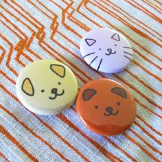 Happy Animals Button Set by sugarcookie on Etsy, $6.00
