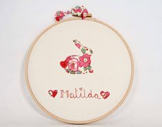 personalised bunny name embroidery hoop art by the house of jam and weasel | notonthehighstreet.com