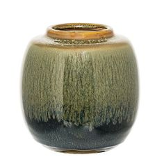 Bloomingville Green Glaze Deco Jar: Bloomingville Deco Jar In Green Glaze. Bring a touch of nature to your surroundings with this deco ceramic jar from Danish home brand Bloomingville. Featuring puddles of green and earthy toned glazes.