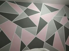 Bedroom Wall Designs, Accent Wall Bedroom, Boys Bedroom Decor, Room Ideas Bedroom, Diy Room Decor, Bedroom Wallpaper Black And White, Geometric Wall Paint, Wall Paint Patterns, Girls Room Paint
