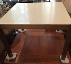 Mid Century Modern Square White Formica Blonde Cocktail Coffee Table MCM  | eBay