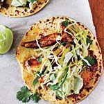 Ancho Chicken Tacos with Cilantro Slaw and Avocado Cream Recipe | MyRecipes.com