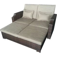 Unwind on the patio or poolside with this lovely daybed, featuring a wicker-inspired frame and beige cushions.Product: Daybed