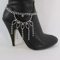 Silver Rhinestones Drop Boot Bracelet Chains Shoe Bling Charm New Women Fashion Jewelry