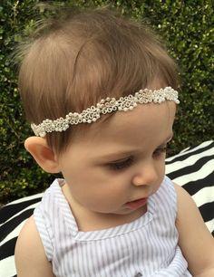 Ivory or White Beaded Headband Beaded Boho by LovelyLittleToppers