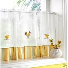 Apple And Rooster Kitchen Curtains — Nighthawk House Decor Kitchen Curtains, Homemade Curtains, Ikea Curtains, Curtain Decor, Curtains Living Room, Cafe Curtains, Boho Curtains, Green Curtains, Yellow Kitchen Curtains