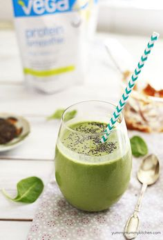 My favorite green protein smoothie. Tastes like a peanut butter milkshake! And a Vitamix Giveaway!