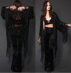 Bell bottoms, black shawl. Hippie goth. goth.