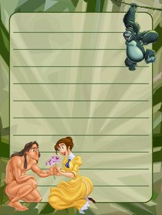 """Tarzan - Jane - Terk - Project Life Journal Card - Scrapbooking ~~~~~~~~~ Size: 3x4"""" @ 300 dpi. This card is **Personal use only - NOT for sale/resale** Clipart belongs to Disney *** Click through to photobucket for more versions of this card ***"""