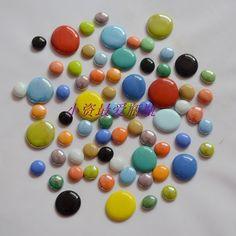 新品包邮玻璃珠瓷质扁珠大小彩色搭配墙贴挡水条马赛克装饰用品-淘宝网