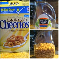 Easy reusable storage idea- clean out empty container and allow to air dry thoroughly before use. Tip: use funnel to pour cereal into container.