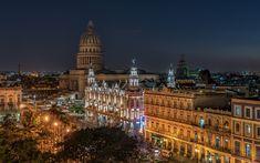 Download wallpapers Havana, Cuba, night, El Capitolio, Parliament building, city lights, Old Havana