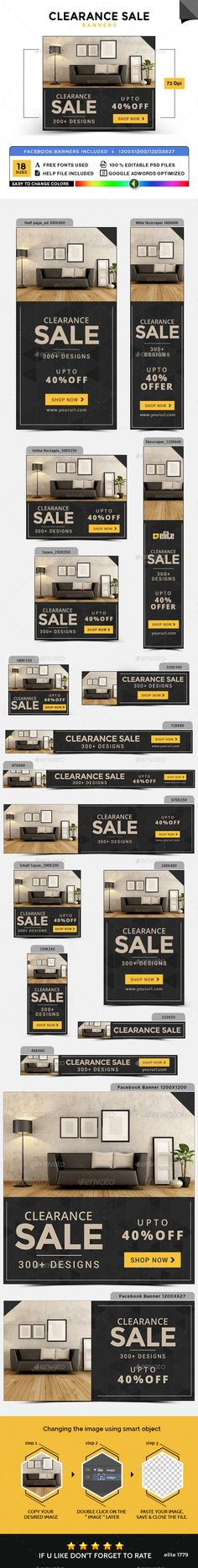 Clearance Sale Banners Design Template - Banners & Ads Web Element Template PSD. Download here: https://graphicriver.net/item/clearance-sale-banners/17728321?s_rank=29&ref=yinkira