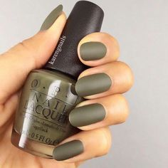 beee9aaf Olive green matte nail polish with Opi #mattenails Matte Olive Green Nails,  Green Nail