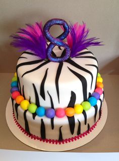 zebra birthday cake - zebra cake for an 8 year old. Fondant covered with fondant decor, edible glitter on the 8 and some feathers sticking out