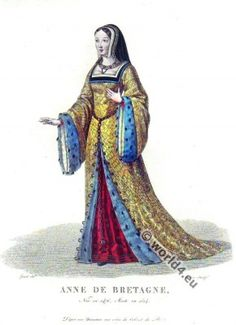 Anne de Bretagne (1477-1514) was from 1489 to 1491 and from 1498 until her death Duchess of Brittany. She was through her marriages also Archduchess of Austria (1490-1491), Queen of France (1491-1498), Queen of Sicily and Jerusalem, and again Queen of France (1499-1514) and Duchess of Milan. Anne was the eldest daughter of Duke Francis II. of Brittany (1435-1488) and his second wife Margaret of Foix, Princess of Navarre (1449-1486).