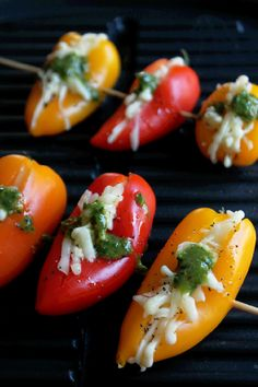 Grilled Cheese Stuffed Mini Peppers with Roasted Garlic Chimichurri Sauce - Not Quite a Vegan