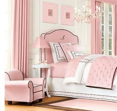 Though pink has been used forever for little (and bigger) girls rooms, this is a charming and subtle use of the colour. Edged with black makes for a sophisticated French look rather than being ultra girly or gaudy . . .