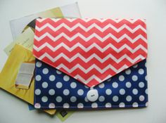 Magazine/tract/book Clutch 3 pockets Chevron and polka dot by keepeweclean.etsy.com