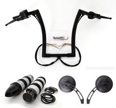 """MultiCityMall :: Blackout Kit. El Diablo 14"""" Black Ape Hangers with Black Hand Controls Switches Grips and Mirrors for Harley-Davidson   Price:$449.99"""