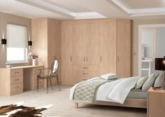 Furniture: Contemporary Built In Wardrobe Armoire With Maple Wooden Material Also L Shaped Design Mixed Minimalist Working Desk With Transparent Fiber Glass Chairs In Addition To Platform Bed Above Cream Flooring Plan: Contemporary Wardrobe Armoire Design For Stylish People