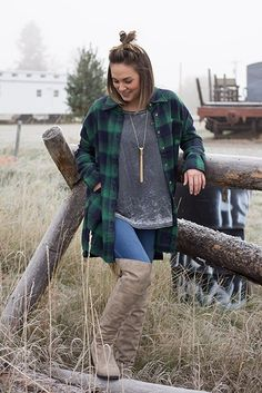 There's a chance of rain tomorrow, that means boots and a flannel are a necessity! ☔️ #xoxoAL4You #fallrain #overthekneeboot #flannel #shopALB #montana Perfect Tunic Style Flannel (Green) $49 Cream Over The Knee Boots $69 Use the link or call (406)721-2280 to order! http://form.jotform.us/form/52044697810154