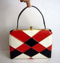 Vintage 60's Mod Red White Blue Purse Handbag