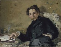 The poet Stéphane Mallarmé painted by Manet in 1876. I love the way he's almost reclining and I love his clothes.