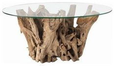 Gorgeous but pricey--Kingston Natural Driftwood Oval Glass Cocktail Table from Arteriors Home - $1,145.00