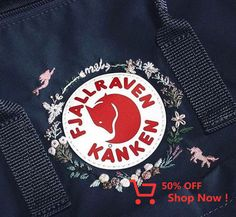 I embroidered on my kanken bag :) : Embroidery Cute Embroidery, Hand Embroidery Stitches, Embroidery Patches, Embroidery Patterns, Mochila Kanken, Backpack Decoration, Diy Kleidung, Diy Backpack, Jacket Style