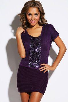 #1015store.com #fashion #style bold purple sequined sweater knit mini dress-$10.00