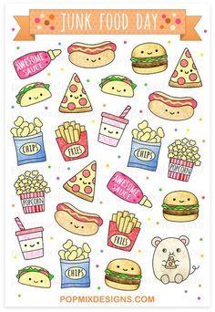 Junk Food Junk Food Stickers - stickers of cute kawaii plannersmatte sticker papersticker sheet is approx. Stickers Kawaii, Food Stickers, Cute Stickers, Cute Food Drawings, Cute Kawaii Drawings, Easy Drawings, Food Drawing Easy, Doodles Kawaii, Food Doodles