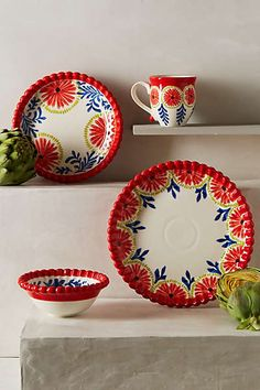 Anthropologie - Sun Stone Dinner Plate colors are so beautiful. Perfect for family dinners