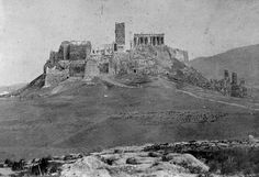 Ακρόπολη, 1854 Old Greek, Greek History, Acropolis, Athens Greece, Ancient Greece, Historical Photos, Time Travel, Archaeology, Old Photos