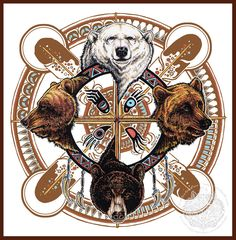 Bear Totem Spirit Shield by Sandra SanTara, Windwolf Studio Bear Spirit Animal, Animal Spirit Guides, Native Art, Native American Art, Touching Spirit Bear, Bear Totem, Bear Tattoos, Medicine Wheel, Owl Print