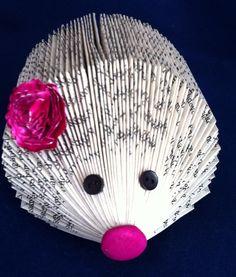 recycled book hedgehog