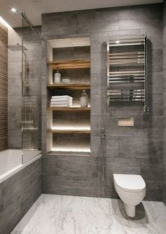 Bathroom decor for your master bathroom remodel. Learn bathroom organization, master bathroom decor tips, master bathroom tile a few ideas, master bathroom paint colors, and more. Best Bathroom Designs, Modern Bathroom Design, Bathroom Interior Design, Interior Design Living Room, Minimal Bathroom, Modern Bathrooms, Luxury Bathrooms, Dream Bathrooms, Toilet And Bathroom Design
