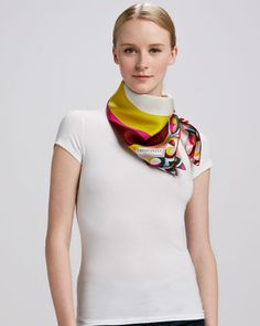 Yin Yang Timeless Silk Scarf, Fuchsia/Multicolor by Emilio Pucci at Neiman Marcus.