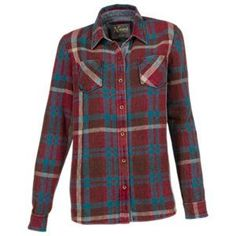 d2384b142c Natural Reflections Acid-Washed Plaid Shirt for Ladies - Tibetan Red - XL  Flannel Friday