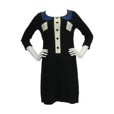 Sonia by Sonia Rykiel Trompe L'oeil Knit Dress   From a collection of rare vintage day dresses at https://www.1stdibs.com/fashion/clothing/day-dresses/