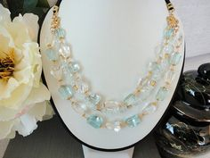 beaded statement necklace .white quartz & blue topaz  gold bead necklace .multistrand necklace .topaz jewelry . blue gemstone jewelry