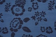 4.2 Yards Buckman Floral Damask Upholstery Fabric in Navy - Fabric Guru.com